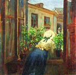 Konstantin Egorovich Makovsky - Bilder Gemälde - At the Open Window