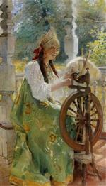 Konstantin Egorovich Makovsky - Bilder Gemälde - At the Spinning-Wheel