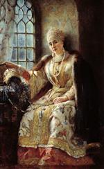 Konstantin Egorovich Makovsky - Bilder Gemälde - Boyar's Wife at the Window