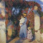 Henri Martin  - Bilder Gemälde - Mother and Child in Pergola at Marquayrol