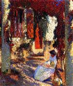 Henri Martin  - Bilder Gemälde - Mother and Child in the Garden