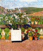Henri Martin  - Bilder Gemälde - Planter with Oleanders and Pots of Geraniums on the Terrace at Marquayrol in Summer