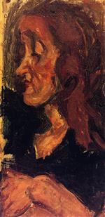 Chaim Soutine  - Bilder Gemälde - Head of a Woman in Profile