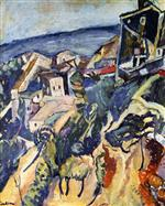 Chaim Soutine  - Bilder Gemälde - Houses by the Sea