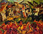Chaim Soutine  - Bilder Gemälde - Houses with Pointed Roofs