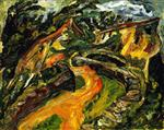 Chaim Soutine  - Bilder Gemälde - Landscape with Ascending Road