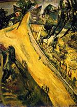 Chaim Soutine  - Bilder Gemälde - Landscape with Ascending Road at Cagnes