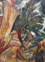 Chaim Soutine  - Bilder Gemälde - Landscape with Figures - Ceret