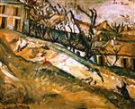 Chaim Soutine  - Bilder Gemälde - Landscape with House and Garden near Paris