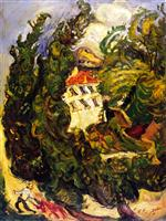 Chaim Soutine  - Bilder Gemälde - Landscape with Red Donkey