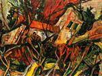 Chaim Soutine  - Bilder Gemälde - Landscape with Red Roofs