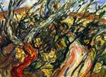 Chaim Soutine  - Bilder Gemälde - Landscape with Trees