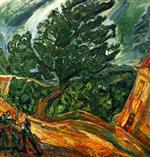 Chaim Soutine  - Bilder Gemälde - Large Blue Trees