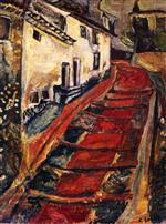 Chaim Soutine  - Bilder Gemälde - Red Stairway at Cagnes