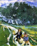 Chaim Soutine  - Bilder Gemälde - Road from School, Civry