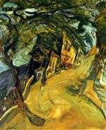 Chaim Soutine  - Bilder Gemälde - Road up the Hill