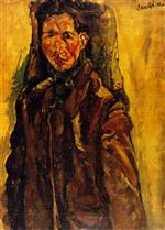 Chaim Soutine  - Bilder Gemälde - Self-Portrait by a Curtain