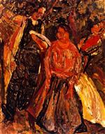 Chaim Soutine  - Bilder Gemälde - Three Peasants