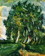 Chaim Soutine  - Bilder Gemälde - Trees at Auxerre