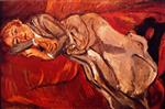 Chaim Soutine  - Bilder Gemälde - Woman Lying on a Red Couch
