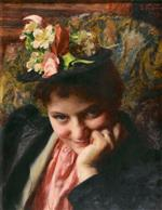 Emile Friant - Bilder Gemälde - The Flowered Hat