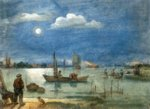 Hendrick Avercamp - paintings - Fishermen by Moonlight