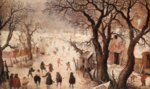 Hendrick Avercamp - paintings - Winter Scene on a Canal