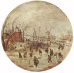Hendrick Avercamp - paintings - Winter Landscape with Skaters