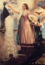 Lord Frederic Leighton - paintings - A Girl Feeding Peacocks