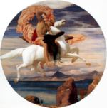 Lord Frederic Leighton - paintings - Perseus on Pegasus Hasting to the Rescue of Andromeda