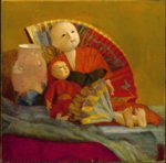 Paul Peel - paintings - Japanese Dolls and Fan