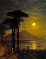 Ivan Aivazovsky  - Bilder Gemälde - The Bay of Naples on a Moonlit Night and Vesuvius