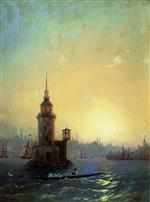 Ivan Aivazovsky  - Bilder Gemälde - View of the Leander Tower in Constantinople
