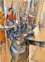 Umberto Boccioni - Bilder Gemälde - Interior with Two Female Figures