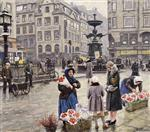 Paul Gustave Fischer - Bilder Gemälde - A bunch of red tulips Amagertorv Copenhagen
