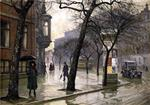Paul Gustave Fischer - Bilder Gemälde - A rainy day at Holmens Kanal toward the Royal Theatre Copenhagen