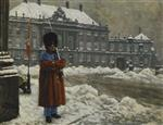Paul Gustave Fischer - Bilder Gemälde - A Royal Life Guard on Duty Outside the Royal Palace Amalienborg, Copenhagen