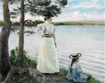 Paul Gustave Fischer - Bilder Gemälde - Artists' wife Dagny and daughter Harriet