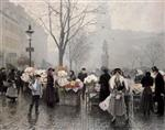 Paul Gustave Fischer - Bilder Gemälde - At the flower market in Højbro Plads Copenhagen