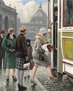 Paul Gustave Fischer - Bilder Gemälde - At the tram stop