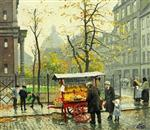 Paul Gustave Fischer - Bilder Gemälde - Autumn day near the Mansonic Lodge in Klerkegade,  Copenhagen