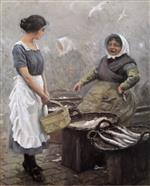 Paul Gustave Fischer  - Bilder Gemälde - Fishing woman and serving girl at Gammel Strand