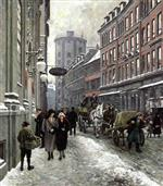 Paul Gustave Fischer  - Bilder Gemälde - Købmagergade with the Round Tower Copenhagen
