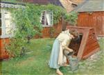 Paul Gustave Fischer  - Bilder Gemälde - Scene from garden in Båstad, girl fetching water