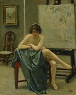 Paul Gustave Fischer  - Bilder Gemälde - Seated model in the artist's studio
