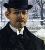 Paul Gustave Fischer  - Bilder Gemälde - Self-Portrait in Nytorv during Winter