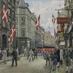 Paul Gustave Fischer  - Bilder Gemälde - The Kings Guard parades in the streets of Copenhagen