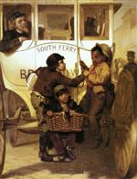 John George Brown - Bilder Gemälde - A Newspaper Boy Hitching a Ride