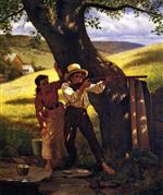 John George Brown - Bilder Gemälde - A Sure Thing