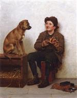 John George Brown - Bilder Gemälde - A Taste for Pie
